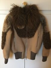 Rare MARC JACOBS Wool Blend With Shearling Fur Panels Jacket-Fits Uk 10-£3500!