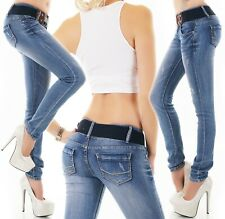 Damen Jeans Hose Skinny Röhre Röhrenjeans Denim blau Stretch Gürtel XS-XL R14