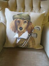 LONG HAIRED DACHSHUND DOG GOLF GOLFING RALPH LAUREN TAPESTRY CUSHION COVER ONLY