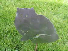 Fat Cat kitty sitting yard garden stake metal art feline #7