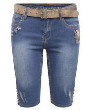 MarJo Damen Trachten Bermuda Jeans Bahati Lisa mit Gürtel und Charivari - Blau