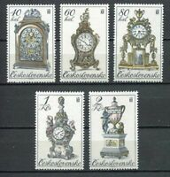 33304) Czechoslovakia 1979 MNH Antique Clocks 5v