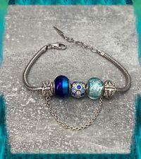 Bracelet CHARMS Dégradé de Bleu Verre de Murano AUTHENTIQUE & Argent 925 Rhodié