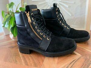 Balmain Black Ranger Combat Boots Suede SIZE 40