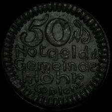 NOTGELD: 50 Pfennig 1921, Steinzeug - schwarz. GEMEINDE HÖHR BEI COBLENZ.