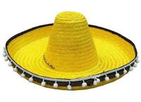 2 YELLOW SOMBRERO HAT W TASSELS dress up fiesta party hats costume mexican cap