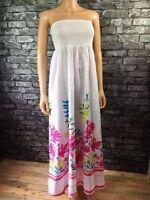 Long Sleeveless White Summer Floral Print Cotton Maxi Dress UK Size 10 - 12