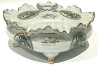 60's NORLEANS Porcelain Footed Gold Trim Victorian Colonial Trinket Box Large