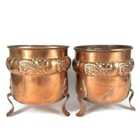 Pair Of Danish Vintage Hammered Copper Footed Kettle / Pot / Cauldrons Denmark