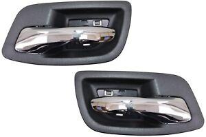 Interior Inner Inside Door Handle Black Chrome Lever Rear Left Right Pair