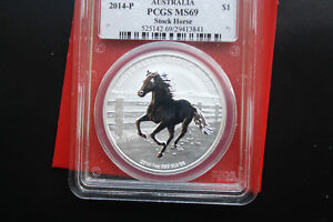 "Australien 1 Dollar ""Stock Horse"" 2014-P ST-BU  #F 2056 PCGS MS 69"