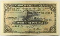 NATIONAL BANK OF EGYPT 5.8.1942 25 PIASTRES  NIXON SIGNATURE... P-10c... VF