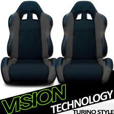 TS Sport Blk/Gray Cloth Fabric Reclinable Racing Bucket Seats w/Sliders Pair V17