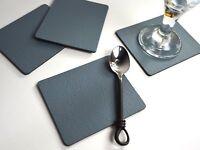 Set 4 VINTAGE GREY Bonded Leather COASTERS Drinks Cup Mug Glass Mats MADE IN UK
