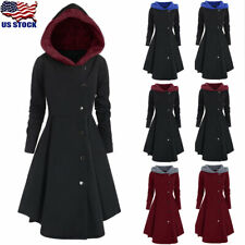 Plus Size Womens Winter Warm Long Peacoat Coats Hooded Trench Outwear Jackets US
