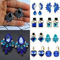 1 Pair Fashion Women Blue CZ Crystal Flower Geometric Dangle Drop Earrings