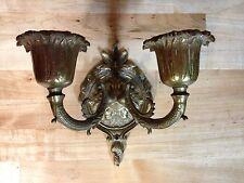 ANTIQUE VINTAGE CAST BRASS CRYSTALS LIGHT FIXTURE SCONCE LAMP PART