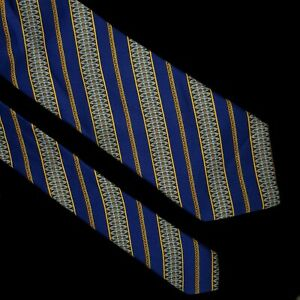 BRIONI Men's 100% Silk Tie Hand Made In Italy, Blue Stripes dis n 3278