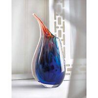 blue red abstract Handmade modern art Glass Sculpture Flower VASE centerpiece