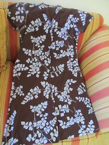 Sig Zane Hilo, HI  Hawaiian Dress XL Retro Brown and Robin Egg Blue Floral