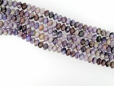 Genuine Charoite roundelle beads 5x8mm. Natural gemstone beads. 8'' long