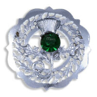 Miracle BROOCH CAP BADGE THISTLE FAUX EMERALD MADE IN THE UK HIGHLAND KILTWEAR