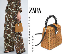 ZARA Minaudière Bag w/ BRAIDED HANDLE RAFFIA WICKER RATTAN HandBag NWT 6403/304