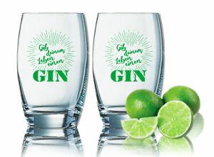 2er Sparset Gin Tonic Gläser - Gib deinem Leben einen GIN lustige Gingläser 35cl