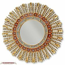 Gold Round Decorative Wall Mirror - Mohena Wood sunburst - Mirrors Home Decor