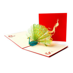 Peacock Pop Up Greeting 3D Card Gift Thanksgiving Wedding Anniversary Birthday