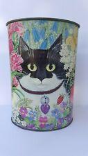 Vintage Sylvia Huber Gaensslen Floral Cat Metal Waste Basket Trash Can