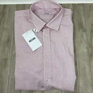 """Moschino Thin Red Check Button Down Shirt Long Sleeves, Size 41,16"""". Immaculate."""