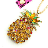 Women's Golden Crystal Rhinestone Pineapple Pendant Betsey Johnson Necklace Gift
