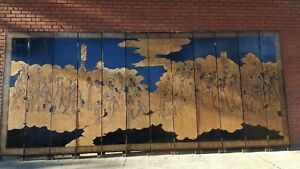 Screens & Room Dividers black lacquer, gilted, gold leaf,12 panel, hand carved
