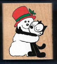 FELIX the CAT SNOWMAN Cartoon Character INKADINKADO 4471-N Holiday Rubber Stamp