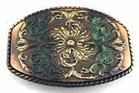 WESTERN COWBOY COWGIRL FLORAL ENGRAVED COPPER PATINA ROPE BELT BUCKLE NEW