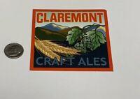 CLAREMONT CRAFT ALES California STICKER decal craft beer brewing