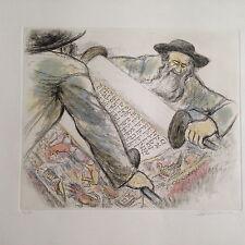Ira Moskowitz, Judaic Orthodox original etching w/watercolor signed 106/120