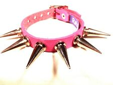 PINK Leather Large Spike Stud bracelet wristband wrist cuff Steam punk RATS BUM