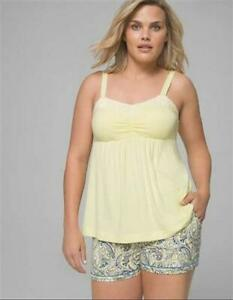 NWT Soma Cool Nights Signature Lace Soft Support Sleep Cami Yellow M #81967