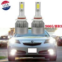 6000K White 9005 LED High Beam Headlight Daytime Running Light Bulbs For Acura