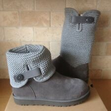 UGG Shaina Grey Gray Button Suede Knitted Cuff Tall / Ankle Boots Size 9 Womens
