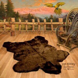 Traditional Bear Skin, Shag, Faux Fur Pelt Rug, Bear Skin Area Rug, Suede Lining