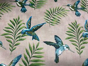 Hummingbirds Super Soft Velvet Olive /Teal140cm wide Curtain/Upholstery Fabric