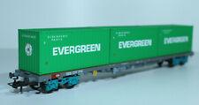 HAG 366 SBB Flachwagen, 4-achsig, mit drei 20-Fuss Containern, Evergreen - OVP