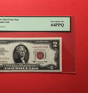 1963 -$2 RED SEAL*****STAR****** NOTE,GRADED BY PCGS,VERR CHOICE NEW 64 PPQ.