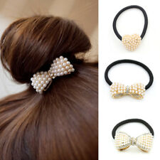 Bow Pearl Elastics Ties Rubber Hair Bands Ponytail Holder Girl Hair Accessories