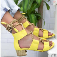 Womens Sandals Bandage Strap Ankle Mid Heels Ladies Block Shoes Lace Up Party