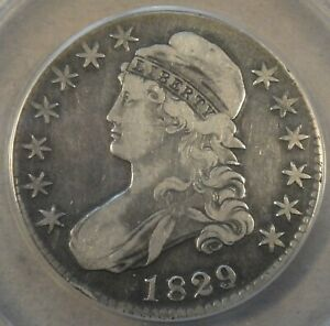 1829/7 Capped Bust Half Dollar 50c O-102 ANACS Certified VF35 Cleaned(Not Bad)