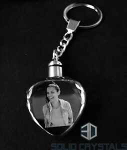 Personalised L.E.D Crystal Keyring - Octagon -Heart shape
